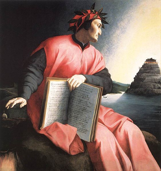 Alegorical portrait of Dante, Agnolo Bronzino, c. 1530 The book he holds is a copy of the Divine Comedy, open to Canto XXV of the Paradiso.