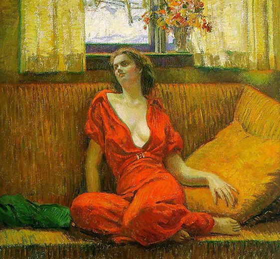 """"""" Lady in Red"""", 1932, painting by Wilson Henry Irvine."""